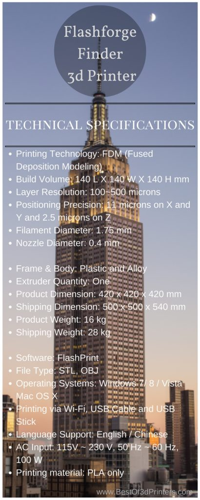 Flasforge Finder 3d Printer Technical Specifications